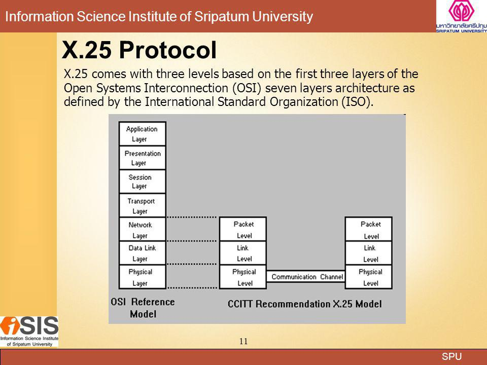 SPU Information Science Institute of Sripatum University 11 X.25 Protocol X.25 comes with three levels based on the first three layers of the Open Sys
