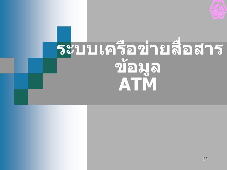 23 ระบบเครือข่ายสื่อสาร ข้อมูล ATM