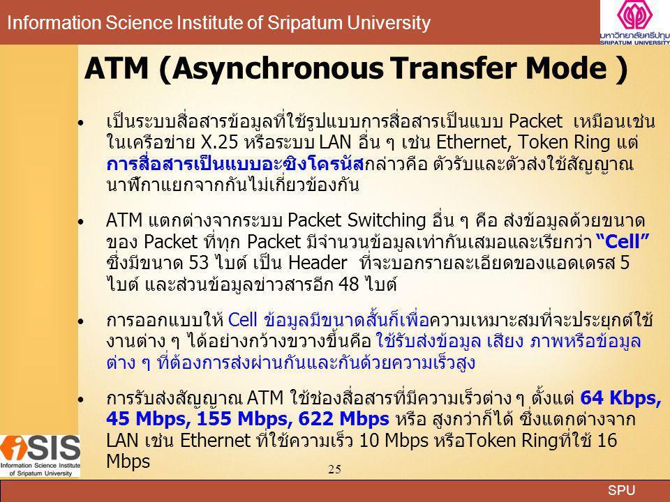 SPU Information Science Institute of Sripatum University 25 ATM (Asynchronous Transfer Mode ) เป็นระบบสื่อสารข้อมูลที่ใช้รูปแบบการสื่อสารเป็นแบบ Packe