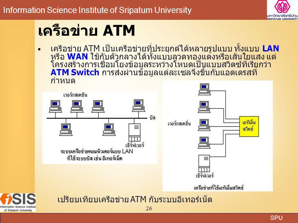 SPU Information Science Institute of Sripatum University 26 เครือข่าย ATM เครือข่าย ATM เป็นเครือข่ายที่ประยุกต์ได้หลายรูปแบบ ทั้งแบบ LAN หรือ WAN ใช้