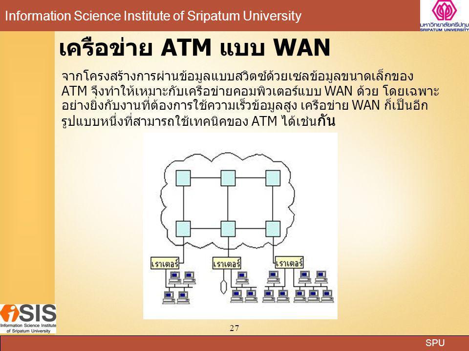 SPU Information Science Institute of Sripatum University 27 เครือข่าย ATM แบบ WAN จากโครงสร้างการผ่านข้อมูลแบบสวิตซ์ด้วยเซลข้อมูลขนาดเล็กของ ATM จึงทำ