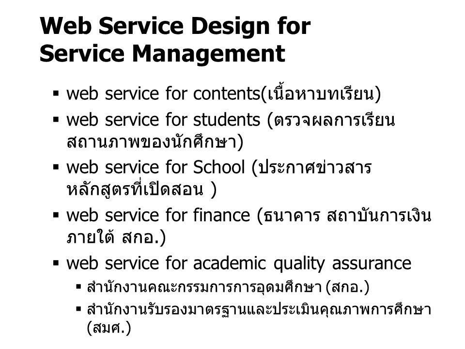 Web Service Design for Service Management  web service for contents(เนื้อหาบทเรียน)  web service for students (ตรวจผลการเรียน สถานภาพของนักศึกษา) 