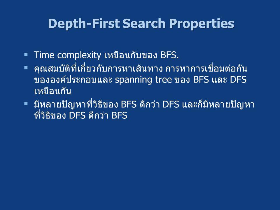 Depth-First Search Properties  Time complexity เหมือนกับของ BFS.  คุณสมบัติที่เกี่ยวกับการหาเส้นทาง การหาการเชื่อมต่อกัน ขององค์ประกอบและ spanning t