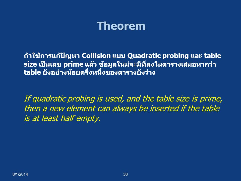 8/1/201438 Theorem ถ้าใช้การแก้ปัญหา Collision แบบ Quadratic probing และ table size เป็นเลข prime แล้ว ข้อมูลใหม่จะมีที่ลงในตารางเสมอหากว่า table ยังอย่างน้อยครึ่งหนึ่งของตารางยังว่าง If quadratic probing is used, and the table size is prime, then a new element can always be inserted if the table is at least half empty.