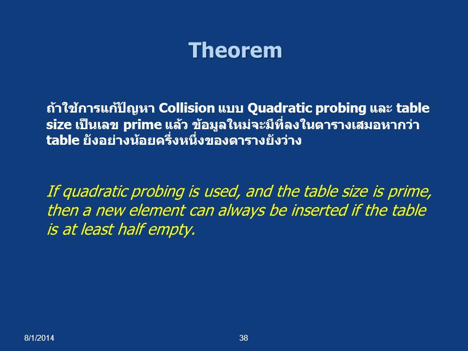 8/1/201438 Theorem ถ้าใช้การแก้ปัญหา Collision แบบ Quadratic probing และ table size เป็นเลข prime แล้ว ข้อมูลใหม่จะมีที่ลงในตารางเสมอหากว่า table ยังอ