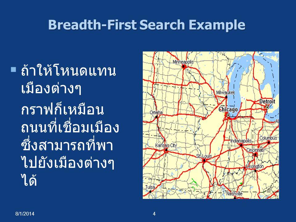 8/1/20145 จากเมือง Chicago, สามารถท่องไปยังเมือง ต่างๆได้โดยวิธี breadth- first search ได้ดังนี้  เริ่มด้วยการเดินทางไป ยังเมืองที่อยู่ใกล้ที่สุด ก่อน ได้แก่เมือง Saint Louis, Milwaulkee, Detroit และ Indianapolis Breadth-First Search Example