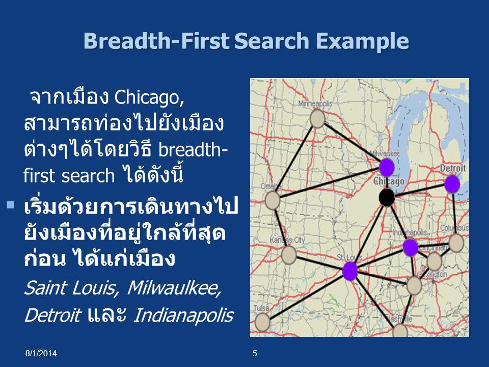 8/1/20145 จากเมือง Chicago, สามารถท่องไปยังเมือง ต่างๆได้โดยวิธี breadth- first search ได้ดังนี้  เริ่มด้วยการเดินทางไป ยังเมืองที่อยู่ใกล้ที่สุด ก่อ