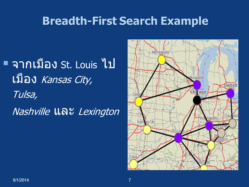 8/1/20148 Breadth-First Search Example  จากเมือง Indianapolis ไป เมือง Cincinnati และเมือง Columbus