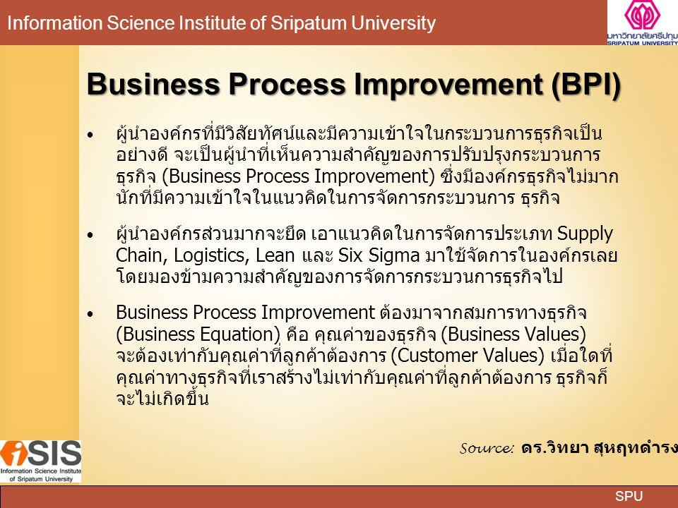 SPU Information Science Institute of Sripatum University Business Process Improvement (BPI) ผู้นำองค์กรที่มีวิสัยทัศน์และมีความเข้าใจในกระบวนการธุรกิจ
