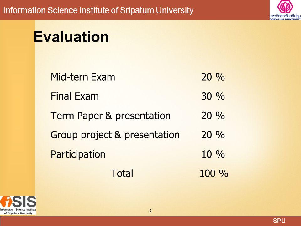 SPU Information Science Institute of Sripatum University chatuphon Phobun:Lecturer14 Processes Processes :สัญลักษณ์แทนกิจกรรมที่เกิดขึ้นในระบบ หรือ กระบวนการที่ต้องทำในระบบ สัญลักษณ์โปรเซสต้องมีหมายเลขกำกับเสมอ เช่น 1,2,3 ตามลำดับ สัญลักษณ์โปรเซสต้องมีหมายเลขกำกับเสมอ เช่น 1,2,3 ตามลำดับ ชื่อที่ใช้กำกับโปรเซส ปกติใช้คำกริยาบอกการกระทำ เช่น ลง ทะเบียน,เช่ารถ,ชำระเงิน ชื่อที่ใช้กำกับโปรเซส ปกติใช้คำกริยาบอกการกระทำ เช่น ลง ทะเบียน,เช่ารถ,ชำระเงิน จำนวนโปรเซสที่สูงสุดนั้น ควรอยู่ในช่วงระหว่าง 7 บวกลบด้วย 2 จำนวนโปรเซสที่สูงสุดนั้น ควรอยู่ในช่วงระหว่าง 7 บวกลบด้วย 2 หมายถึง 5 ถึง 9 โปรเซส หมายถึง 5 ถึง 9 โปรเซส 1 คำนวณ เงินเดือนสุทธิ เงินเดือน, ภาษี ค่าประกันสังคม เงินเดือนสุทธิ