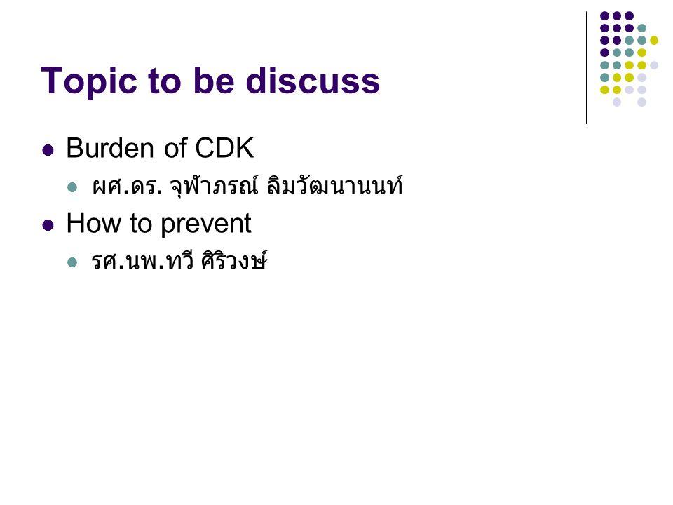Topic to be discuss Burden of CDK ผศ. ดร. จุฬาภรณ์ ลิมวัฒนานนท์ How to prevent รศ. นพ. ทวี ศิริวงษ์
