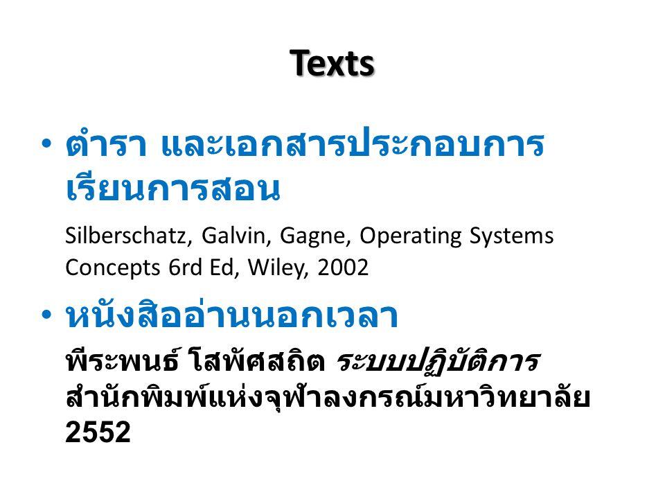 Texts ตำรา และเอกสารประกอบการ เรียนการสอน Silberschatz, Galvin, Gagne, Operating Systems Concepts 6rd Ed, Wiley, 2002 หนังสิออ่านนอกเวลา พีระพนธ์ โสพั