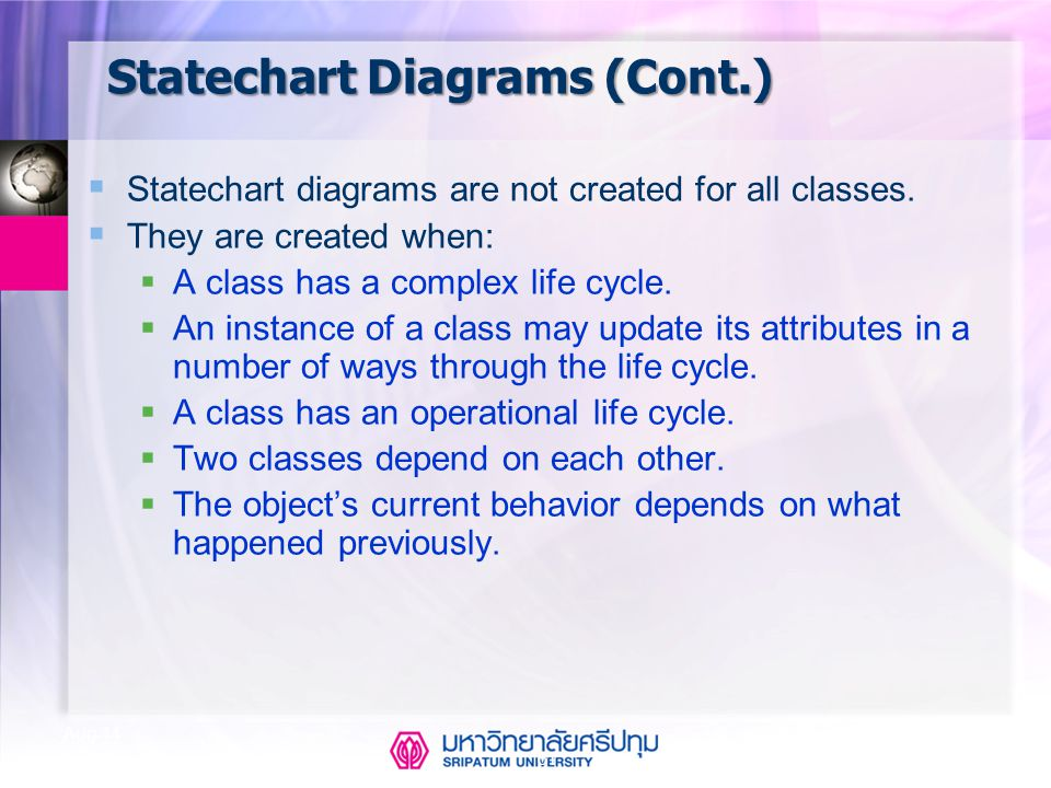 CSE323 Systems Analysis and Design 2/2549 61 Aug-14 Statechart Diagrams (Cont.)  Statechart diagrams are not created for all classes.  They are crea