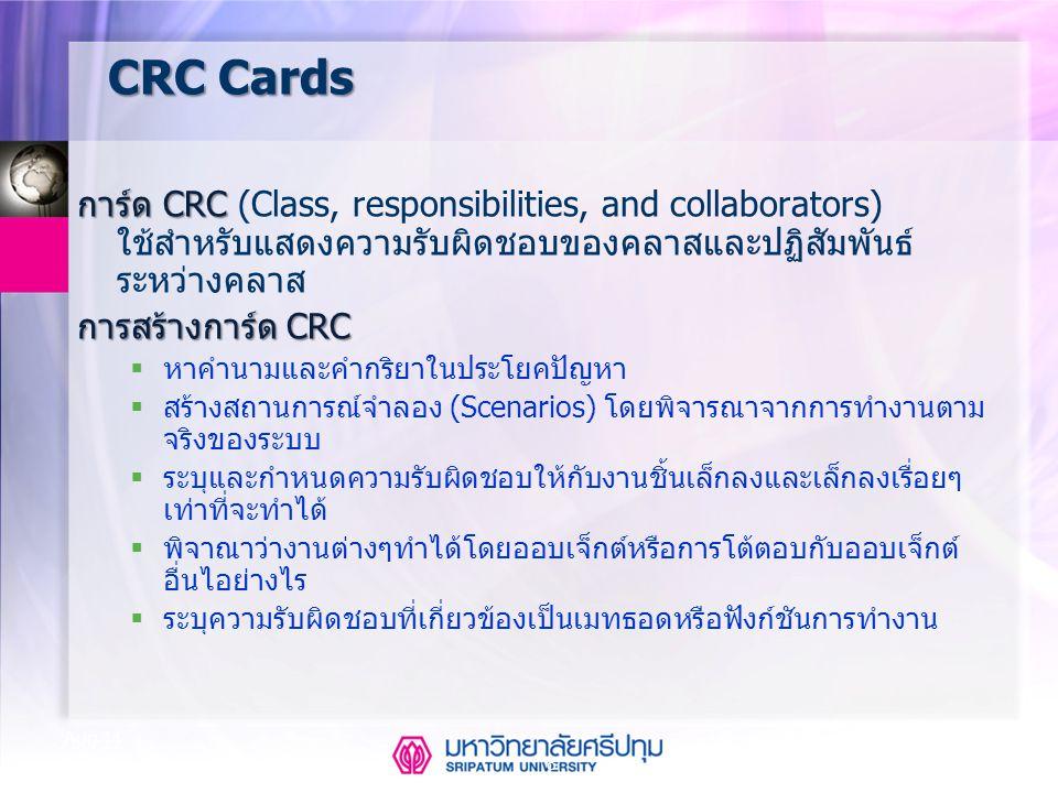 CSE323 Systems Analysis and Design 2/2549 8 Aug-14 CRC Cards การ์ด CRC การ์ด CRC (Class, responsibilities, and collaborators) ใช้สำหรับแสดงความรับผิดช
