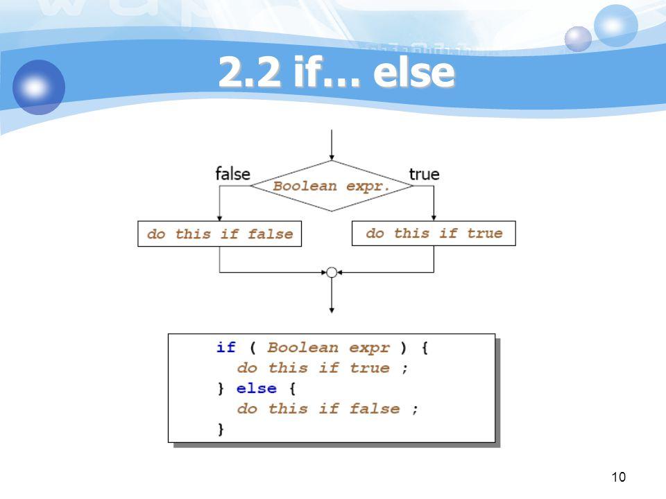 2.2 if… else 10