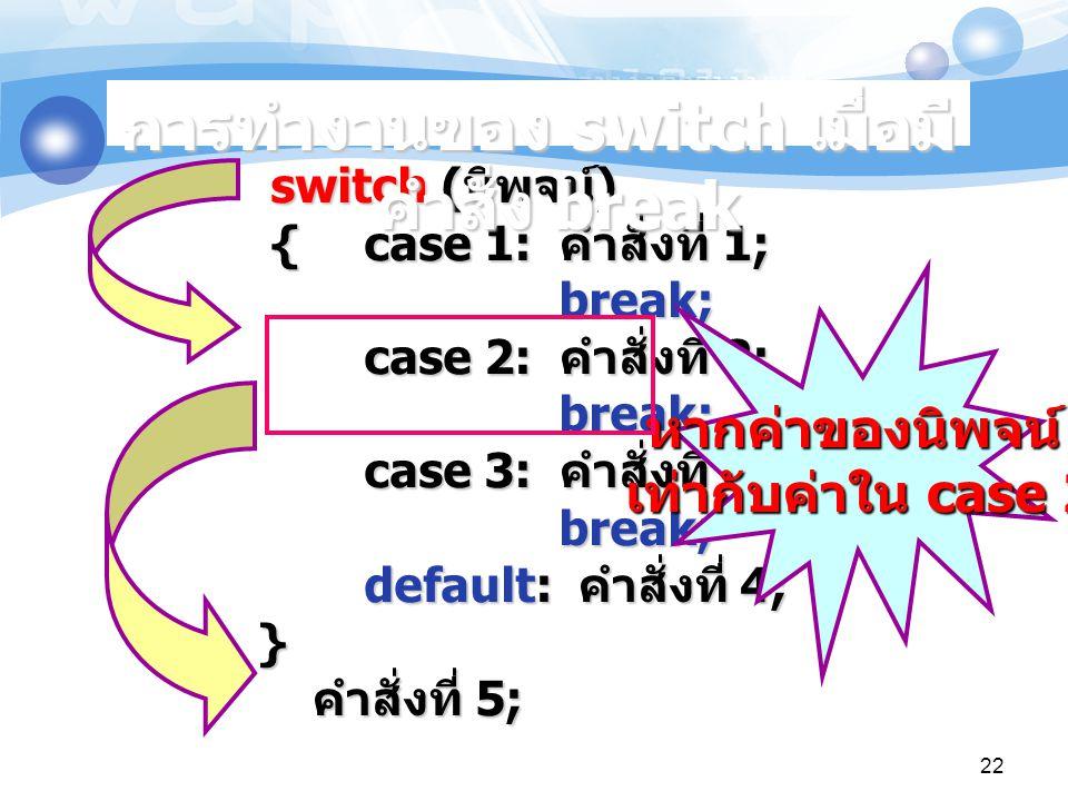 switch ( นิพจน์ ) { case 1: คำสั่งที่ 1; break; case 2: คำสั่งที่ 2; break; case 3: คำสั่งที่ 3; break; default: คำสั่งที่ 4; } คำสั่งที่ 5; switch ( นิพจน์ ) { case 1: คำสั่งที่ 1; break; case 2: คำสั่งที่ 2; break; case 3: คำสั่งที่ 3; break; default: คำสั่งที่ 4; } คำสั่งที่ 5; หากค่าของนิพจน์ เท่ากับค่าใน case 2 การทำงานของ switch เมื่อมี คำสั่ง break 22