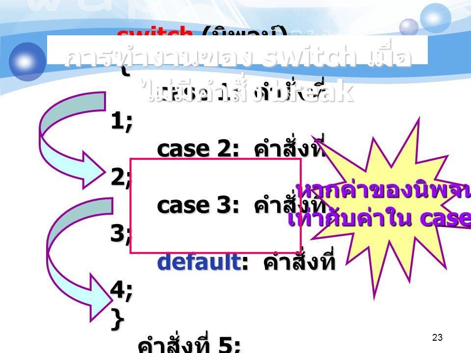 switch ( นิพจน์ ) { case 1: คำสั่งที่ 1; case 2: คำสั่งที่ 2; case 3: คำสั่งที่ 3; default: คำสั่งที่ 4; } คำสั่งที่ 5; switch ( นิพจน์ ) { case 1: คำสั่งที่ 1; case 2: คำสั่งที่ 2; case 3: คำสั่งที่ 3; default: คำสั่งที่ 4; } คำสั่งที่ 5; หากค่าของนิพจน์ เท่ากับค่าใน case 2 การทำงานของ switch เมื่อ ไม่มีคำสั่ง break 23
