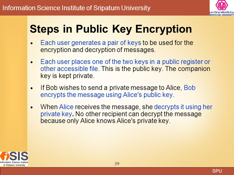 SPU Information Science Institute of Sripatum University 39 Steps in Public Key Encryption Each user generates a pair of keys to be used for the encry
