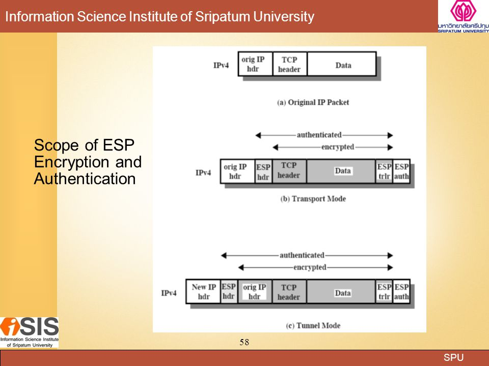 SPU Information Science Institute of Sripatum University 58 Scope of ESP Encryption and Authentication