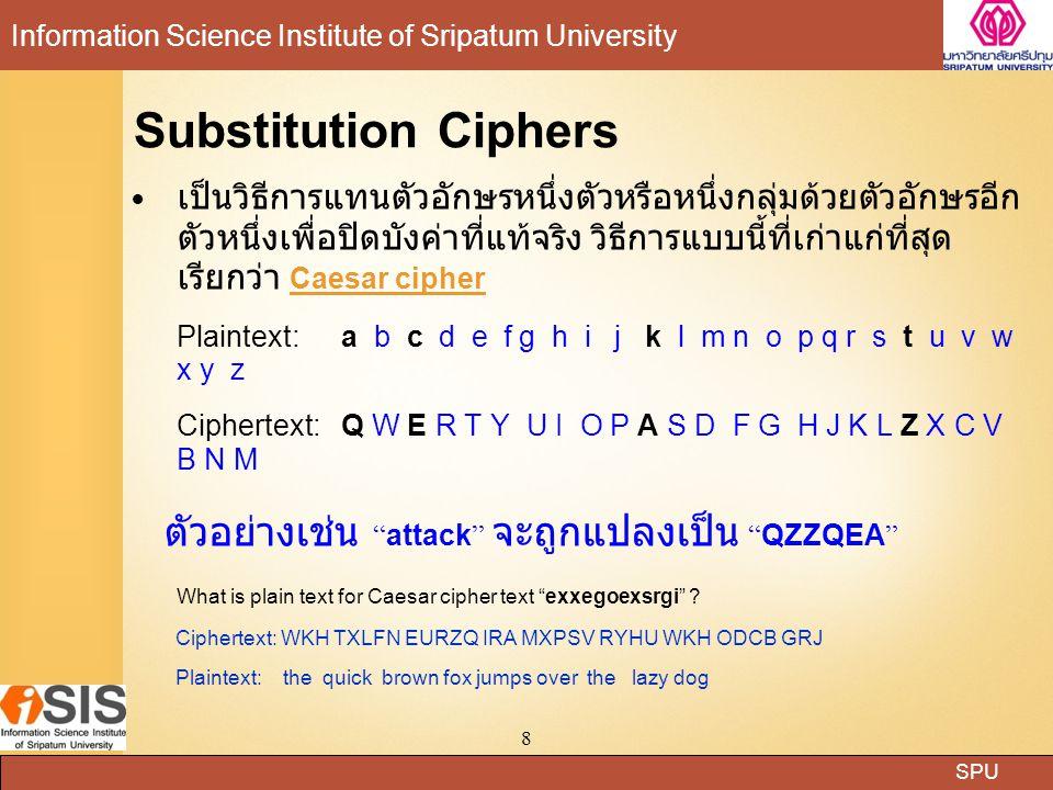 SPU Information Science Institute of Sripatum University 8 Substitution Ciphers เป็นวิธีการแทนตัวอักษรหนึ่งตัวหรือหนึ่งกลุ่มด้วยตัวอักษรอีก ตัวหนึ่งเพ