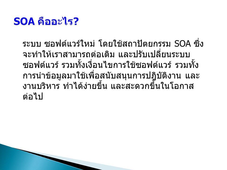 ระบบ ซอฟต์แวร์ใหม่ โดยใช้สถาปัตยกรรม SOA ซึ่ง จะทำให้เราสามารถต่อเติม และปรับเปลี่ยนระบบ ซอฟต์แวร์ รวมทั้งเงื่อนไขการใช้ซอฟต์แวร์ รวมทั้ง การนำข้อมูลม