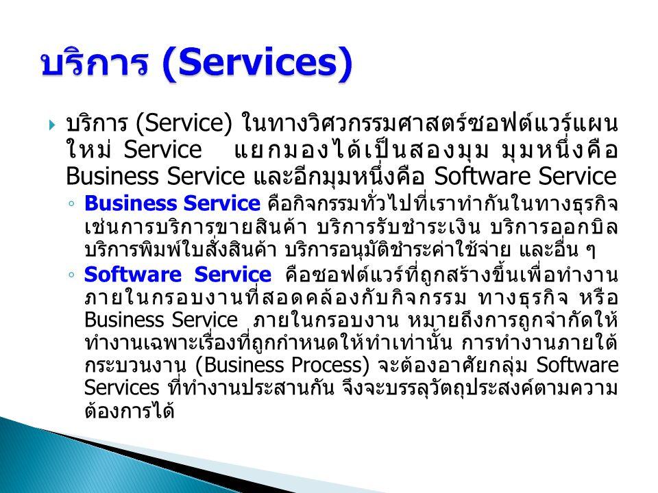  บริการ (Service) ในทางวิศวกรรมศาสตร์ซอฟต์แวร์แผน ใหม่ Service แยกมองได้เป็นสองมุม มุมหนึ่งคือ Business Service และอีกมุมหนึ่งคือ Software Service ◦