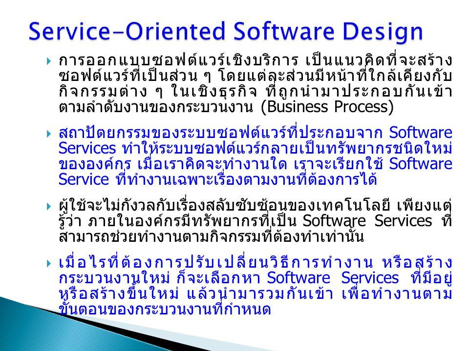  การออกแบบซอฟต์แวร์เชิงบริการ เป็นแนวคิดที่จะสร้าง ซอฟต์แวร์ที่เป็นส่วน ๆ โดยแต่ละส่วนมีหน้าที่ใกล้เคียงกับ กิจกรรมต่าง ๆ ในเชิงธุรกิจ ที่ถูกนำมาประก