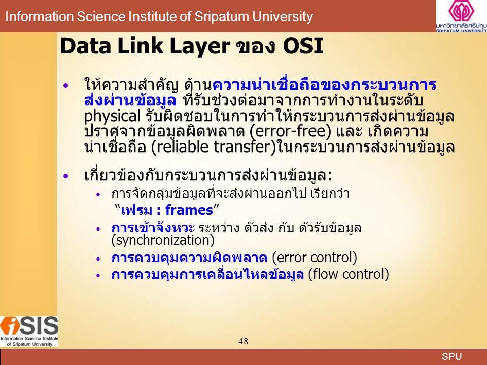 SPU Information Science Institute of Sripatum University 48 Data Link Layer ของ OSI ให้ความสำคัญ ด้านความน่าเชื่อถือของกระบวนการ ส่งผ่านข้อมูล ที่รับช่วงต่อมาจากการทำงานในระดับ physical รับผิดชอบในการทำให้กระบวนการส่งผ่านข้อมูล ปราศจากข้อมูลผิดพลาด (error-free) และ เกิดความ น่าเชื่อถือ (reliable transfer)ในกระบวนการส่งผ่านข้อมูล เกี่ยวข้องกับกระบวนการส่งผ่านข้อมูล: การจัดกลุ่มข้อมูลที่จะส่งผ่านออกไป เรียกว่า เฟรม : frames การเข้าจังหวะ ระหว่าง ตัวส่ง กับ ตัวรับข้อมูล (synchronization) การควบคุมความผิดพลาด (error control) การควบคุมการเคลื่อนไหลข้อมูล (flow control)