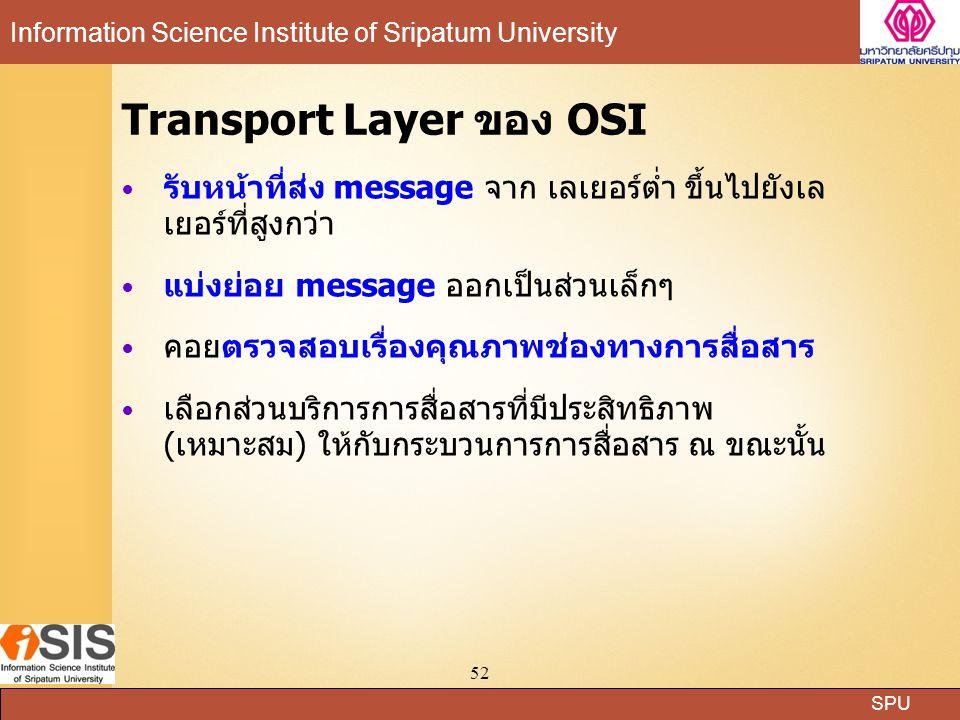 SPU Information Science Institute of Sripatum University 52 Transport Layer ของ OSI รับหน้าที่ส่ง message จาก เลเยอร์ต่ำ ขึ้นไปยังเล เยอร์ที่สูงกว่า แบ่งย่อย message ออกเป็นส่วนเล็กๆ คอยตรวจสอบเรื่องคุณภาพช่องทางการสื่อสาร เลือกส่วนบริการการสื่อสารที่มีประสิทธิภาพ (เหมาะสม) ให้กับกระบวนการการสื่อสาร ณ ขณะนั้น