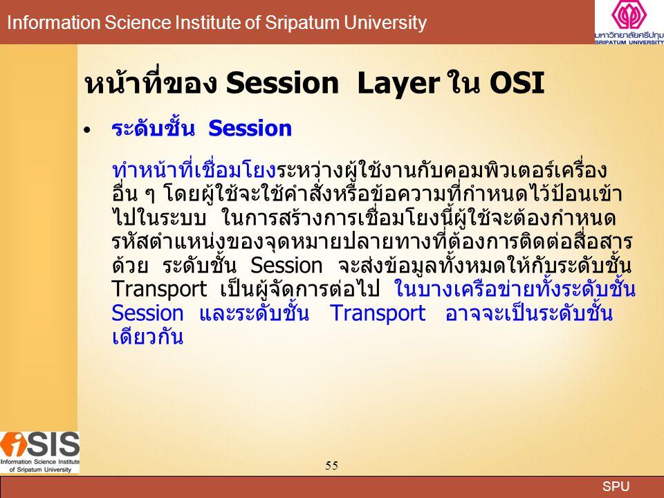 SPU Information Science Institute of Sripatum University 55 หน้าที่ของ Session Layer ใน OSI ระดับชั้น Session ทำหน้าที่เชื่อมโยงระหว่างผู้ใช้งานกับคอมพิวเตอร์เครื่อง อื่น ๆ โดยผู้ใช้จะใช้คำสั่งหรือข้อความที่กำหนดไว้ป้อนเข้า ไปในระบบ ในการสร้างการเชื่อมโยงนี้ผู้ใช้จะต้องกำหนด รหัสตำแหน่งของจุดหมายปลายทางที่ต้องการติดต่อสื่อสาร ด้วย ระดับชั้น Session จะส่งข้อมูลทั้งหมดให้กับระดับชั้น Transport เป็นผู้จัดการต่อไป ในบางเครือข่ายทั้งระดับชั้น Session และระดับชั้น Transport อาจจะเป็นระดับชั้น เดียวกัน