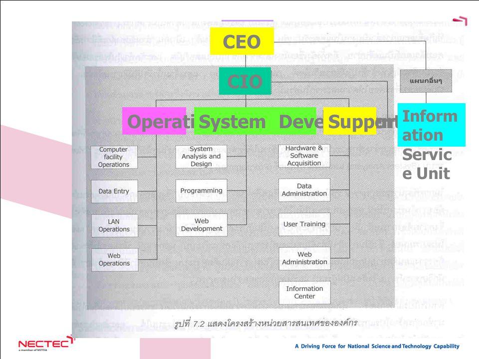 9 CEO OperationSystem DevelopmentSupport Inform ation Servic e Unit CIO CEO