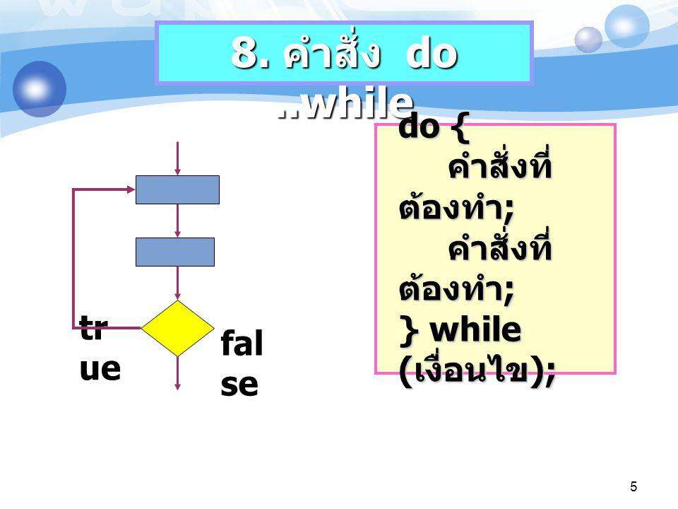 6 int sum = 0, number = 1; do { sum = sum + number; numbe++; } while (number <= 100) int sum = 0, number = 1; do { sum = sum + number; numbe++; } while (number <= 100) ตัวอย่างที่ 9 Do-while เพื่อทำการคำนวณผลบวก ของเลขตั้งแต่ 1-100