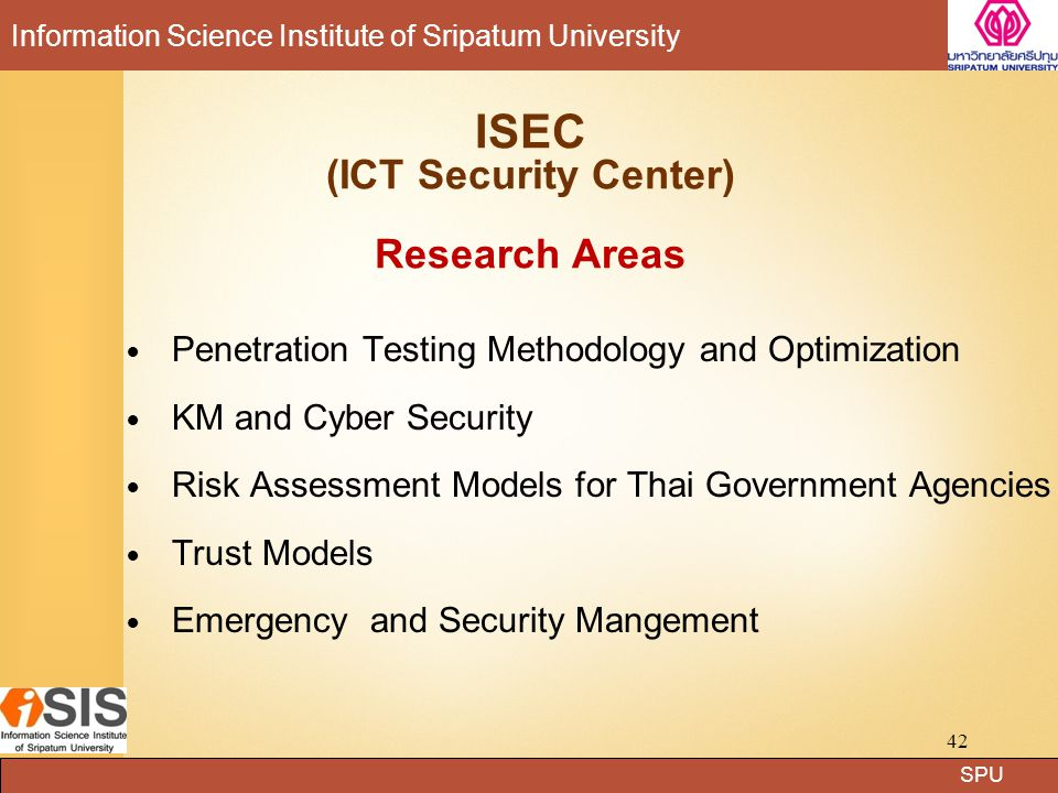 SPU Information Science Institute of Sripatum University Pentest Research: Test Methodology ISIS Fortinet Pentest Lab 43