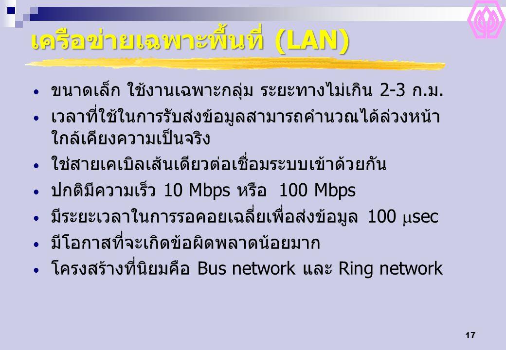 17 เครือข่ายเฉพาะพื้นที่ (LAN) ขนาดเล็ก ใช้งานเฉพาะกลุ่ม ระยะทางไม่เกิน 2-3 ก.ม. เวลาที่ใช้ในการรับส่งข้อมูลสามารถคำนวณได้ล่วงหน้า ใกล้เคียงความเป็นจร