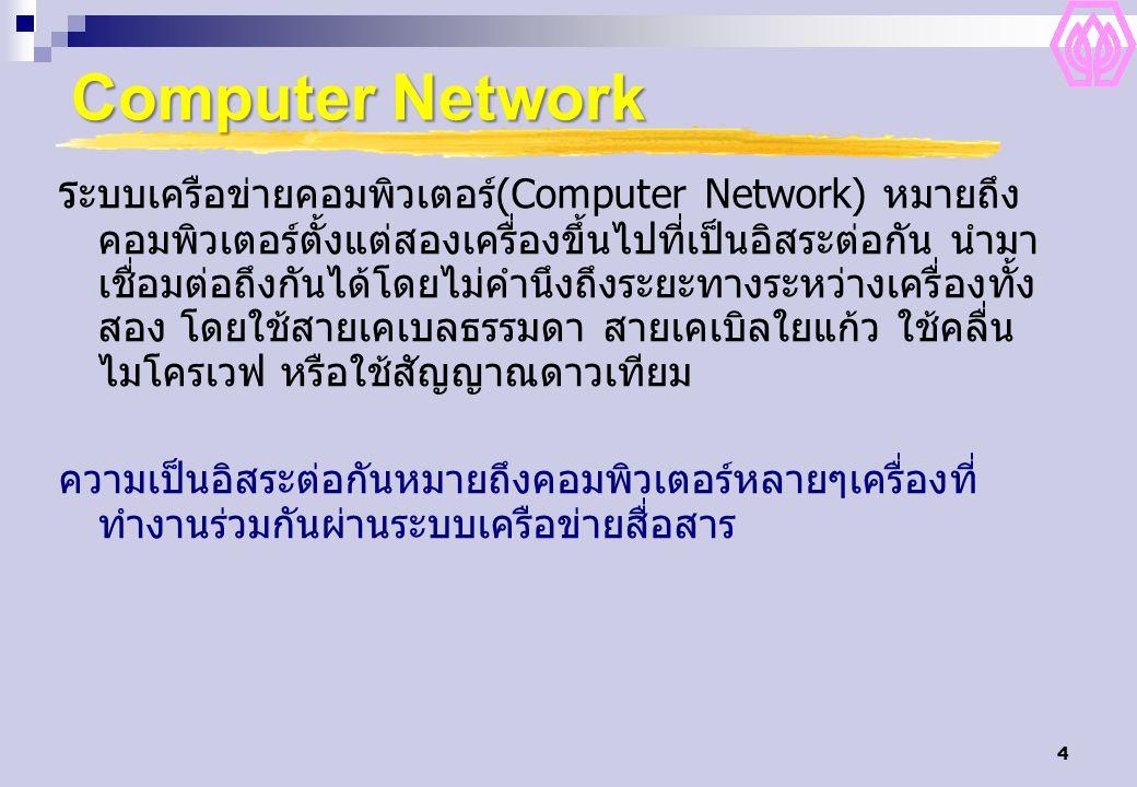 4 Computer Network ร ะบบเครือข่ายคอมพิวเตอร์(Computer Network) หมายถึง คอมพิวเตอร์ตั้งแต่สองเครื่องขึ้นไปที่เป็นอิสระต่อกัน นำมา เชื่อมต่อถึงกันได้โดย