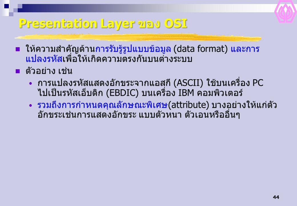 44 Presentation Layer ของ OSI ให้ความสำคัญด้านการรับรู้รูปแบบข้อมูล (data format) และการ แปลงรหัสเพื่อให้เกิดความตรงกันบนต่างระบบ ตัวอย่าง เช่น การแปล