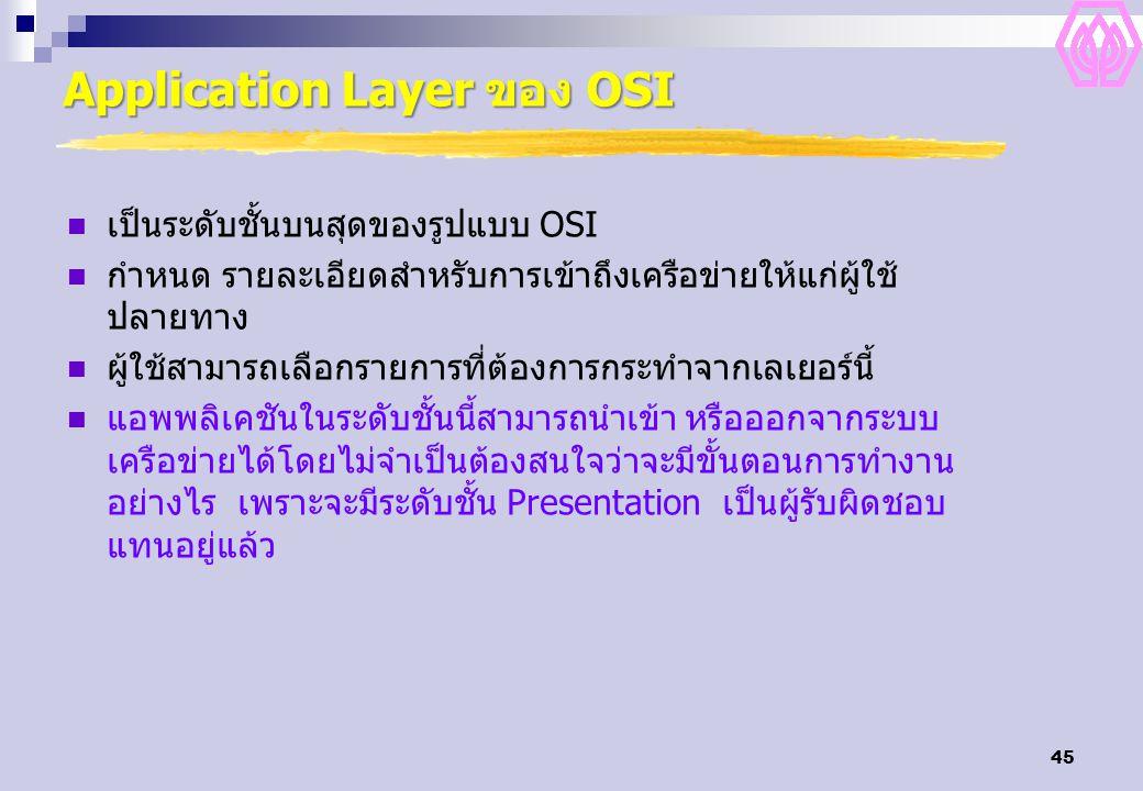 45 Application Layer ของ OSI เป็นระดับชั้นบนสุดของรูปแบบ OSI กำหนด รายละเอียดสำหรับการเข้าถึงเครือข่ายให้แก่ผู้ใช้ ปลายทาง ผู้ใช้สามารถเลือกรายการที่ต