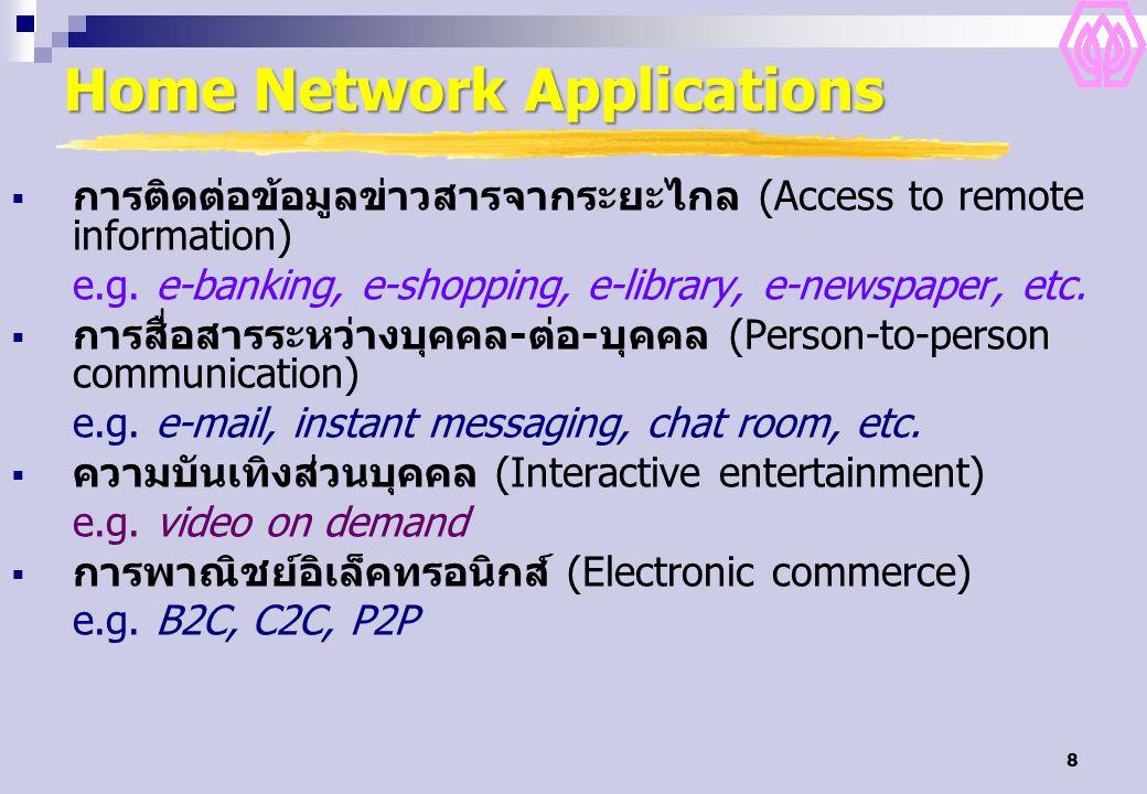 8 Home Network Applications  การติดต่อข้อมูลข่าวสารจากระยะไกล (Access to remote information) e.g. e-banking, e-shopping, e-library, e-newspaper, etc.