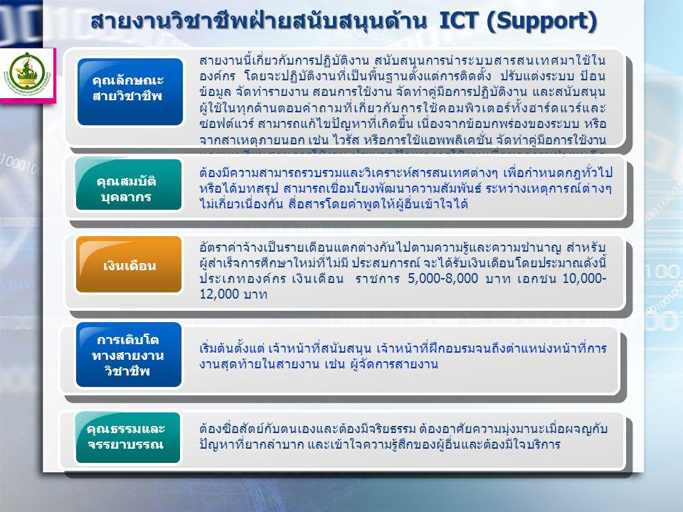 สายงานวิชาชีพฝ่ายสนับสนุนด้าน ICT (Support) คุณลักษณะ สายวิชาชีพ สายงานนี้เกี่ยวกับการปฏิบัติงาน สนับสนุนการนำระบบสารสนเทศมาใช้ใน องค์กร โดยจะปฏิบัติง