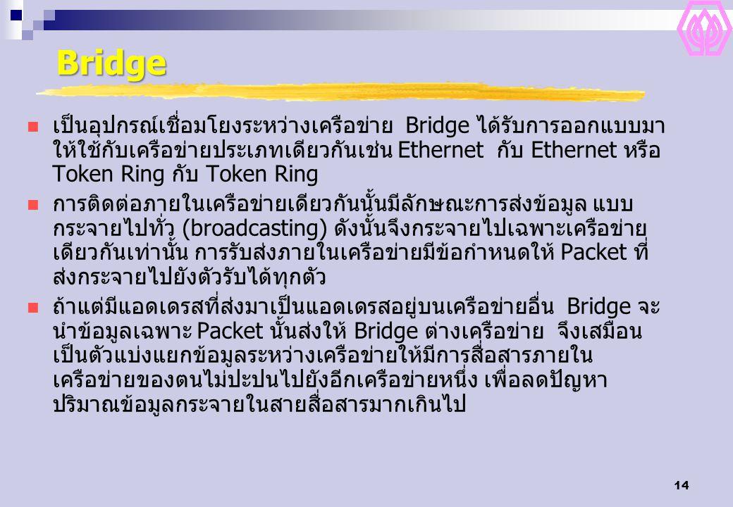 14 Bridge เป็นอุปกรณ์เชื่อมโยงระหว่างเครือข่าย Bridge ได้รับการออกแบบมา ให้ใช้กับเครือข่ายประเภทเดียวกันเช่น Ethernet กับ Ethernet หรือ Token Ring กับ Token Ring การติดต่อภายในเครือข่ายเดียวกันนั้นมีลักษณะการส่งข้อมูล แบบ กระจายไปทั่ว (broadcasting) ดังนั้นจึงกระจายไปเฉพาะเครือข่าย เดียวกันเท่านั้น การรับส่งภายในเครือข่ายมีข้อกำหนดให้ Packet ที่ ส่งกระจายไปยังตัวรับได้ทุกตัว ถ้าแต่มีแอดเดรสที่ส่งมาเป็นแอดเดรสอยู่บนเครือข่ายอื่น Bridge จะ นำข้อมูลเฉพาะ Packet นั้นส่งให้ Bridge ต่างเครือข่าย จึงเสมือน เป็นตัวแบ่งแยกข้อมูลระหว่างเครือข่ายให้มีการสื่อสารภายใน เครือข่ายของตนไม่ปะปนไปยังอีกเครือข่ายหนึ่ง เพื่อลดปัญหา ปริมาณข้อมูลกระจายในสายสื่อสารมากเกินไป