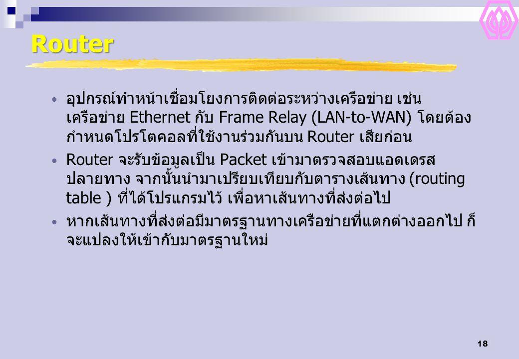 18 Router อุปกรณ์ทำหน้าเชื่อมโยงการติดต่อระหว่างเครือข่าย เช่น เครือข่าย Ethernet กับ Frame Relay (LAN-to-WAN) โดยต้อง กำหนดโปรโตคอลที่ใช้งานร่วมกันบน Router เสียก่อน Router จะรับข้อมูลเป็น Packet เข้ามาตรวจสอบแอดเดรส ปลายทาง จากนั้นนำมาเปรียบเทียบกับตารางเส้นทาง (routing table ) ที่ได้โปรแกรมไว้ เพื่อหาเส้นทางที่ส่งต่อไป หากเส้นทางที่ส่งต่อมีมาตรฐานทางเครือข่ายที่แตกต่างออกไป ก็ จะแปลงให้เข้ากับมาตรฐานใหม่