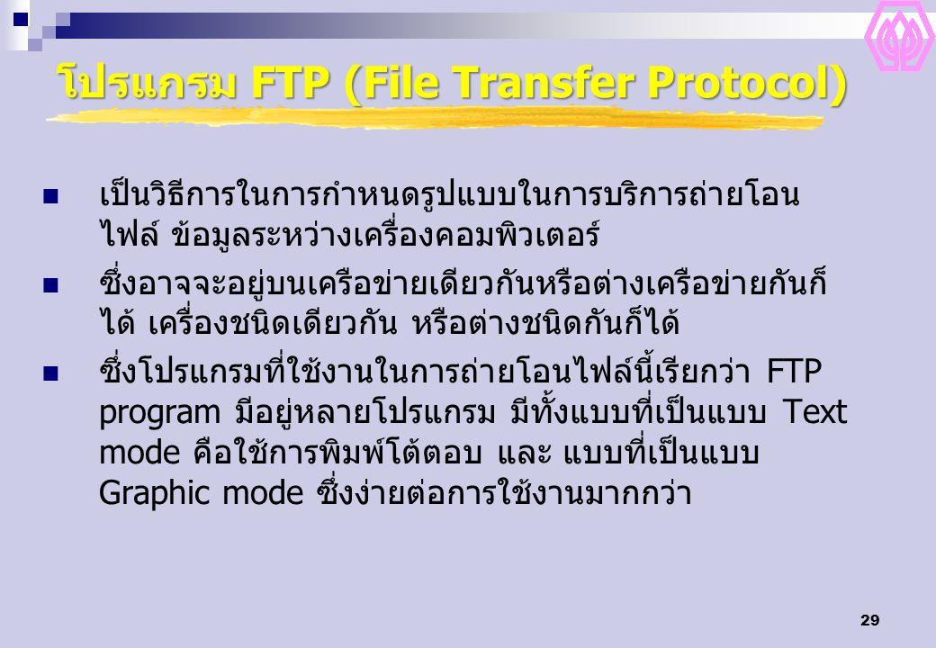 29 โปรแกรม FTP (File Transfer Protocol) เป็นวิธีการในการกำหนดรูปแบบในการบริการถ่ายโอน ไฟล์ ข้อมูลระหว่างเครื่องคอมพิวเตอร์ ซึ่งอาจจะอยู่บนเครือข่ายเดียวกันหรือต่างเครือข่ายกันก็ ได้ เครื่องชนิดเดียวกัน หรือต่างชนิดกันก็ได้ ซึ่งโปรแกรมที่ใช้งานในการถ่ายโอนไฟล์นี้เรียกว่า FTP program มีอยู่หลายโปรแกรม มีทั้งแบบที่เป็นแบบ Text mode คือใช้การพิมพ์โต้ตอบ และ แบบที่เป็นแบบ Graphic mode ซึ่งง่ายต่อการใช้งานมากกว่า