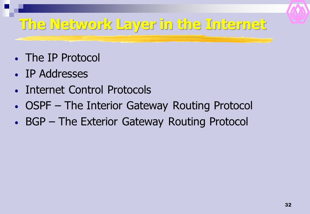 32 The Network Layer in the Internet The IP Protocol IP Addresses Internet Control Protocols OSPF – The Interior Gateway Routing Protocol BGP – The Exterior Gateway Routing Protocol