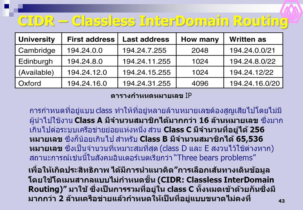 43 CIDR – Classless InterDomain Routing ตารางกำหนดหมายเลข IP การกำหนดที่อยู่แบบ class ทำให้ที่อยู่หลายล้านหมายเลขต้องสูญเสียไปโดยไม่มี ผู้นำไปใช้งาน Class A มีจำนวนสมาชิกได้มากกว่า 16 ล้านหมายเลข ซึ่งมาก เกินไปต่อระบบเครือข่ายย่อยแห่งหนึ่ง ส่วน Class C มีจำนวนที่อยู่ได้ 256 หมายเลข ซึ่งก็น้อยเกินไป สำหรับ Class B มีจำนวนสมาชิกได้ 65,536 หมายเลข ซึ่งเป็นจำนวนที่เหมาะสมที่สุด (class D และ E สงวนไว้ใช้ต่างหาก) สถานะการณ์เช่นนี้ในสังคมอินเตอร์เนตเรียกว่า Three bears problems เพื่อให้เกิดประสิทธิภาพ ได้มีการนำแนวคิด การเลือกเส้นทางเดินข้อมูล โดยใช้โดเมนสากลแบบไม่กำหนดชั้น (CIDR: Classless InterDomain Routing) มาใช้ ซึ่งเป็นการรวมที่อยู่ใน class C ทั้งหมดเข้าด้วยกันซึ่งมี มากกว่า 2 ล้านเครือข่ายแล้วกำหนดให้เป็นที่อยู่แบบขนาดไม่คงที่
