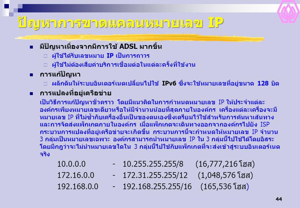 44 ปัญหาการขาดแคลนหมายเลข IP มีปัญหาเนื่องจากมีการใช้ ADSL มากขึ้น  ผู้ใช้ได้รับเลขหมาย IP เป็นการถาวร  ผู้ใช้ไม่ต้องเสียค่าบริการเชื่อมต่อในแต่ละครั้งที่ใช้งาน การแก้ปัญหา  ผลักดันให้ระบบอินเตอร์เนตเปลี่ยนไปใช้ IPv6 ซึ่งจะใช้หมายเลขที่อยู่ขนาด 128 บิต การแปลงที่อยู่เครือข่าย เป็นวิธีการแก้ปัญหาชั่วคราว โดยมีแนวคิดในการกำหนดหมายเลข IP ให้ประจำแต่ละ องค์กรเพียงหมายเลขเดียวหรือให้มีจำนวนน้อยที่สุดภายในองค์กร เครื่องแต่ละเครื่องจะมี หมายเลข IP ที่ไม่ซ้ำกับเครื่องอื่นเป็นของตนเองซึ่งเตรียมไว้ใช้สำหรับการค้นหาเส้นทาง และการจัดส่งแพ็กเกตภายในองค์กร เมื่อแพ็กเกตจะเดินทางออกจากองค์กรไปยัง ISP กระบวนการแปลงที่อยู่เครือข่ายจะเกิดขึ้น กระบวนการนี้จะกำหนดให้หมายเลข IP จำนวน 3 กลุ่มเป็นหมายเลขเฉพาะ องค์กรสามารถนำหมายเลข IP ใน 3 กลุ่มนี้ไปใช้ได้โดยอิสระ โดยมีกฎว่าจะไม่นำหมายเลขใดใน 3 กลุ่มนี้ไปใช้กับแพ็กเกตที่จะส่งเข้าสู่ระบบอินเตอร์เนต จริง 10.0.0.0- 10.255.255.255/8 (16,777,216 โฮส) 172.16.0.0- 172.31.255.255/12 (1,048,576 โฮส) 192.168.0.0- 192.168.255.255/16 (165,536 โฮส)