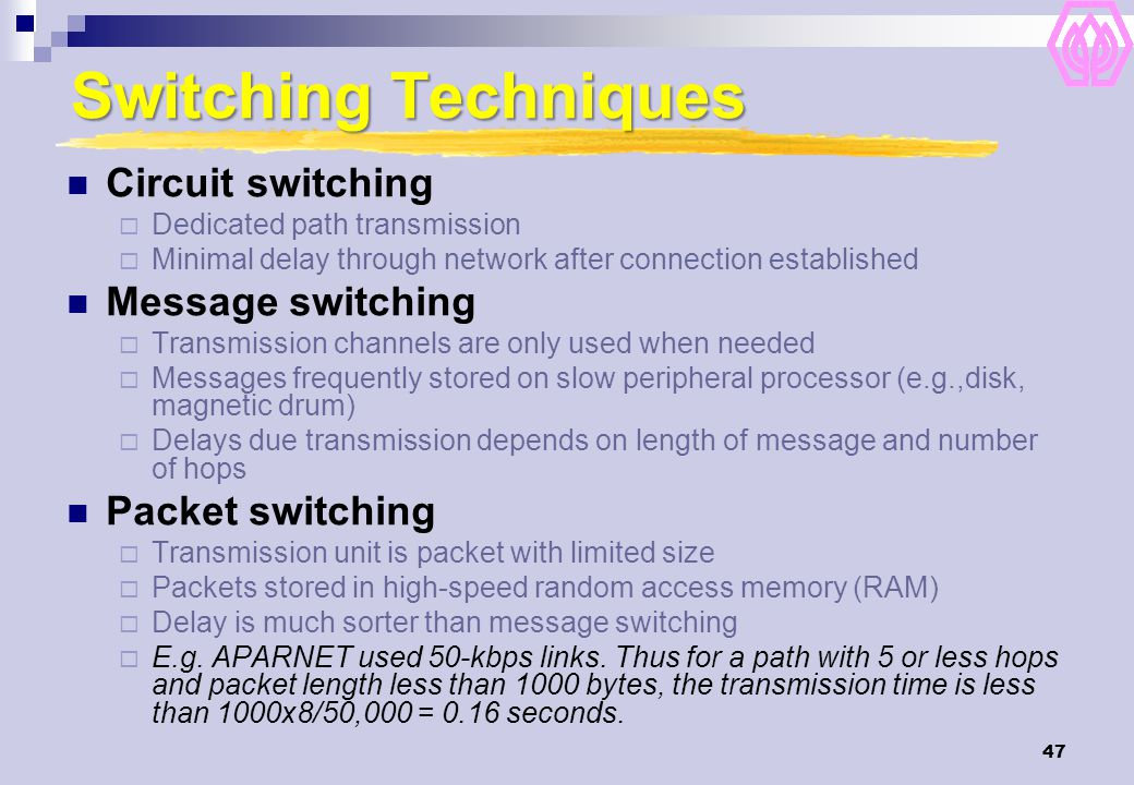 47 Switching Techniques Circuit switching  Dedicated path transmission  Minimal delay through network after connection established Message switching