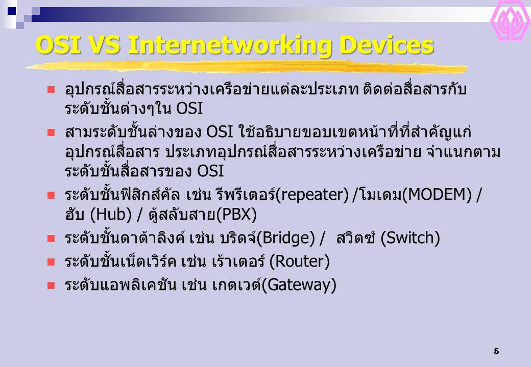 5 OSI VS Internetworking Devices อุปกรณ์สื่อสารระหว่างเครือข่ายแต่ละประเภท ติดต่อสื่อสารกับ ระดับชั้นต่างๆใน OSI สามระดับชั้นล่างของ OSI ใช้อธิบายขอบเขตหน้าที่ที่สำคัญแก่ อุปกรณ์สื่อสาร ประเภทอุปกรณ์สื่อสารระหว่างเครือข่าย จำแนกตาม ระดับชั้นสื่อสารของ OSI ระดับชั้นฟิสิกส์คัล เช่น รีพรีเตอร์(repeater) /โมเดม(MODEM) / ฮับ (Hub) / ตู้สลับสาย(PBX) ระดับชั้นดาต้าลิงค์ เช่น บริดจ์(Bridge) / สวิตซ์ (Switch) ระดับชั้นเน็ตเวิร์ค เช่น เร้าเตอร์ (Router) ระดับแอพลิเคชัน เช่น เกตเวต์(Gateway)