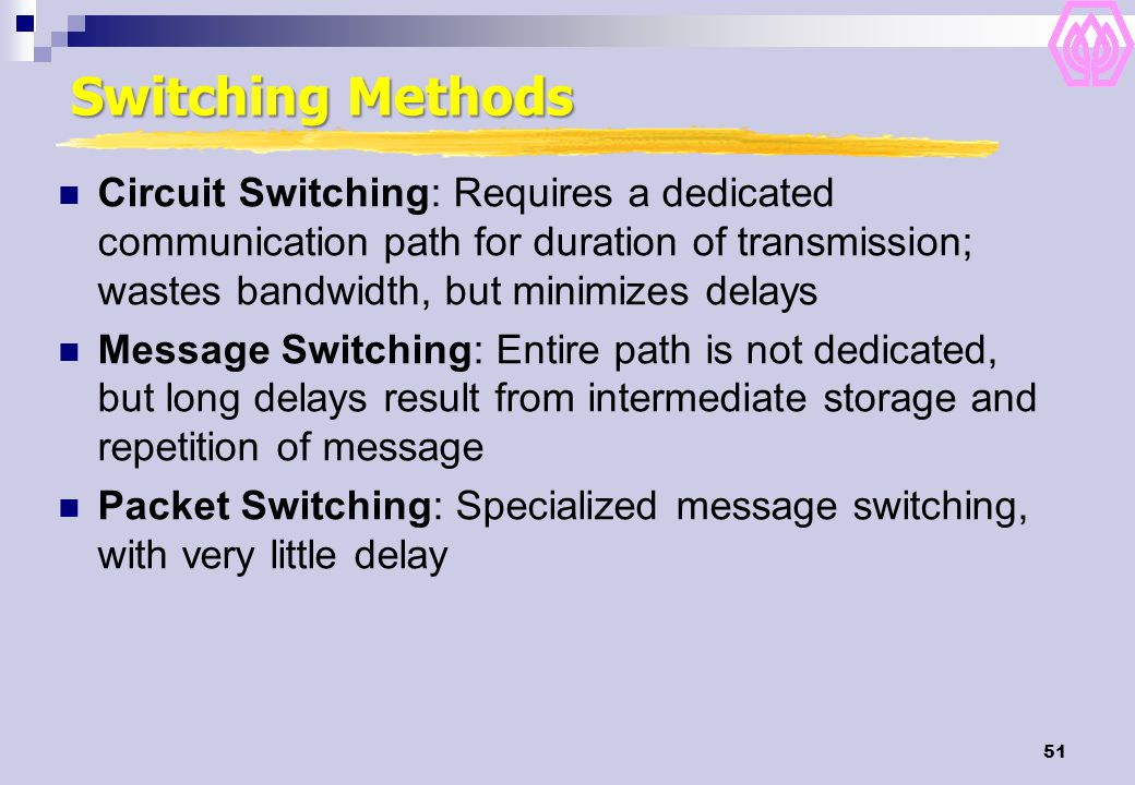 51 Switching Methods Circuit Switching: Requires a dedicated communication path for duration of transmission; wastes bandwidth, but minimizes delays Message Switching: Entire path is not dedicated, but long delays result from intermediate storage and repetition of message Packet Switching: Specialized message switching, with very little delay
