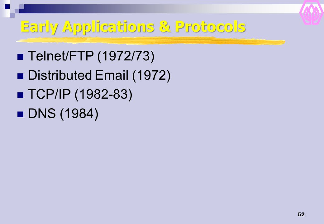 52 Early Applications & Protocols Telnet/FTP (1972/73) Distributed Email (1972) TCP/IP (1982-83) DNS (1984)