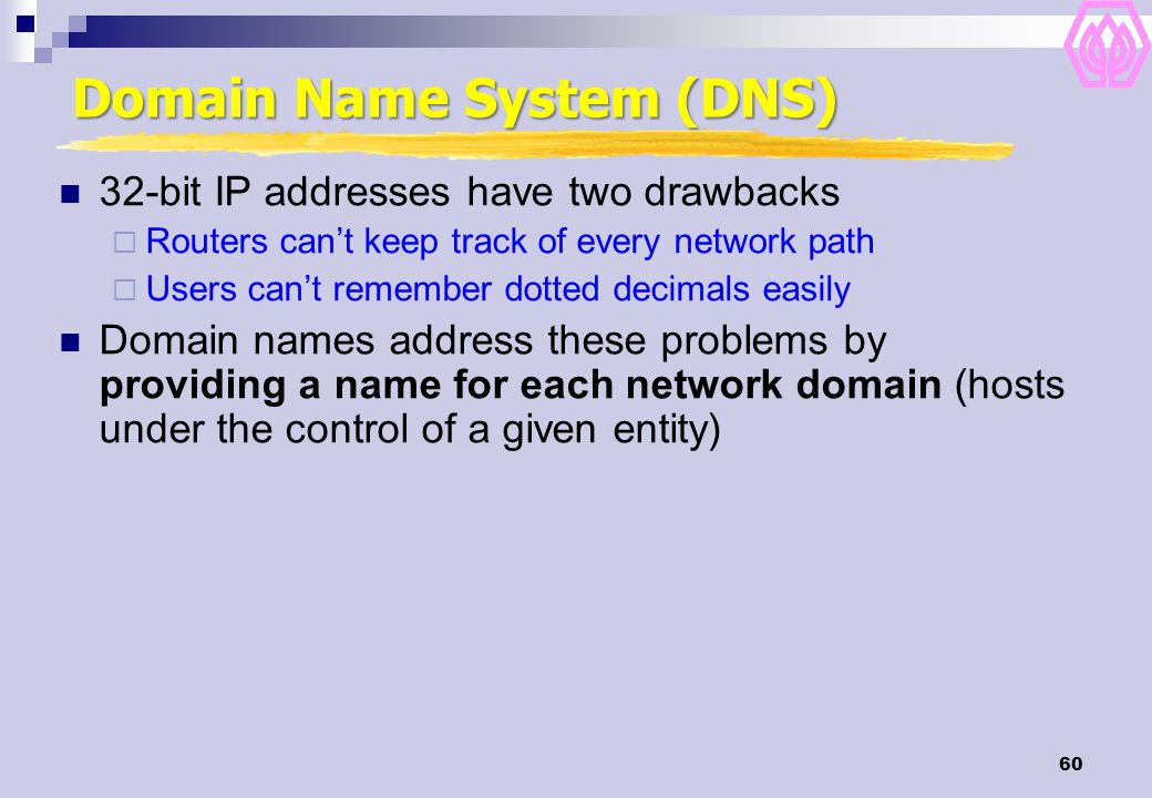 60 Domain Name System (DNS) 32-bit IP addresses have two drawbacks  Routers can't keep track of every network path  Users can't remember dotted deci